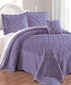 Serenta Faux Fur Quilted Tatami 4 Piece Bedspread Set King