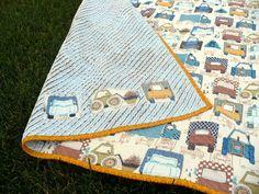 The Polka-Dot Umbrella: Chenille Truck Baby Blanket