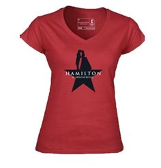 Hamilton the Broadway Musical - Ladies Star V-neck. This ladies red v-neck shirt features the love story star and the Hamilton An American Musical on the front. Cute Tshirts, Hamilton, Love Story, Theatre, Musicals, Broadway, Overalls, Daughter, V Neck