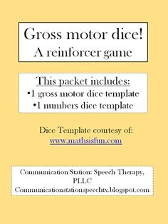 Gross Motor Dice: A reinforcer game! - Pinned by @PediaStaff – Please Visit  ht.ly/63sNt for all our pediatric therapy pins