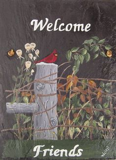 Painted Slate Cardinal on Post with by D-Listers Feather Painting, Tole Painting, Pottery Painting, Painting On Wood, Painting Tips, Acrylic Paint On Wood, Acrylic Painting Canvas, Canvas Art, Painted Slate