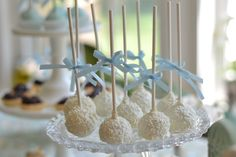Vanilla/white chocolate cake pops for a baby boy shower or little boy birthday.