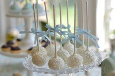 Vanilla/white chocolate cake pops for a baby boy shower or little boy birthday.