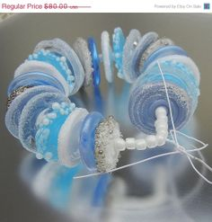 SALE 24 Spring Sky Fun and Funky Disks Blue and White Lampwork Glass Disk Beads Handmade Christmas Snow SRA