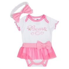 NFL Chicago Bears Girls Skirted Bodysuit  Headband Set 03 Months Pink *** Details can be found by clicking on the image.