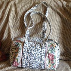 LIKE NEW! Retired VB Delft Pattern Duffle Bag SUPER CLEAN!! Maybe used once!! Vera Bradley RETIRED for 20 YEARS (Jan 92-96) Delft Pattern Small Duffle Bag. This has been packed away so out of the light, dust, etc. It hard to find this pattern!! Has the Vera Bradley Indiana Label. Vera Bradley Bags