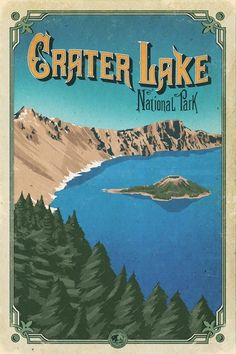 crater lake national park Add it to your collection of outdoor prints and other National Park art looks great in all kinds of rooms from living room to a cozy library. National Park Posters, Us National Parks, Crater Lake National Park, Yosemite National Park, Crater Lake Oregon, Cozy Library, Park Art, Road Trip Usa, Vintage Travel Posters