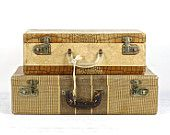 Suitcase, Stack Of Two Suitcases ,Vintage Suitcase, Old Suitcase Stack, , Stacked Suitcases, Luggage
