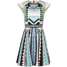 MARY KATRANTZOU Short dress ($1,475) ❤ liked on Polyvore featuring dresses, short dresses, vestidos, sky blue, multicolor dress, short sleeve mini dress, crew neck dress, print mini dress and colorful dresses
