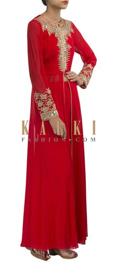 Buy Online from the link below. We ship worldwide (Free Shipping over US$100) http://www.kalkifashion.com/anarkali-suit-featuring-in-red-with-mirror-embroidery-only-on-kalki.html