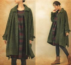 Green Cashmere Coat Wool Coat Long Wool Coat by camellia tune $139 Etsy