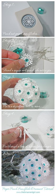 snowflake punch, sequins, and a styrofoam ball
