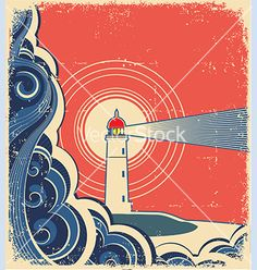 Sea waves with lighthouse on abstract grunge image vector - by GeraKTV on VectorStock®