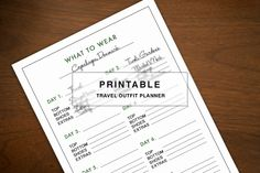 Printable Outfit Planner