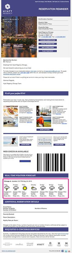 Hyatt's Reservation Reminder email included a real-time 7-day weather forecast tailored to the traveler's hotel destination. For example, this email from the Hyatt Regency Chicago included the real-time 7-day forecast for Chicago. Click the image to read more about this on the Movable Ink Blog.
