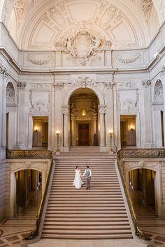 Glamorous Gold and Marble Wedding Photos at San Francisco City Hall
