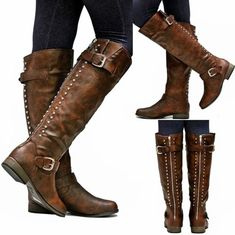 New-Womens-FLG3-Brown-Gold-Zipper-Studded-Riding-Knee-High-Boots-Sz-5-5-to-10
