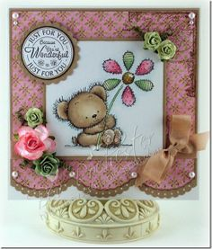 Patchwork Daisy from Lili of the Valley stamps.  Card was made by Bev Rochester.