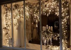 Previous winter window dressing at Joanna Leigh Couture, embellished couture bridal gown. Christmas Shop Displays, Shop Window Displays, Christmas Window Decorations, Christmas Lights, Winter Window Display, Seasonal Decor, Holiday Decor, Winter Fairy, Baby Room Art