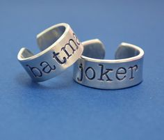 Batman Ring Set Batman and Joker Couple by SilverStatements, $20.00