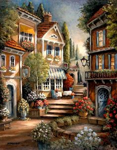 Counted cross stitch pattern in PDF format - Street steps 2 cross stitch pattern in from Maxispatterns - Beautiful Places, Beautiful Pictures, Cross Stitch Supplies, Thomas Kinkade, Winter Scenes, Beautiful Paintings, Landscape Art, Landscape Pictures, Home Art
