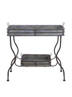 Maggie Galvanized Tray Table, Antique Grey/Black at MYHABIT