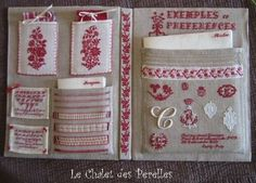 Just gorgeous. A book to keep sewing things in, entirely embroidered in French redwork cross stitch.