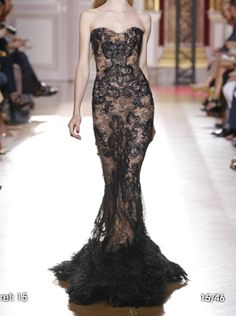 Black lace gown - Zuhair Murad - Skin Flowers Fall 2012 Runway
