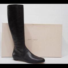 "Selling this ""Jimmy Choo Ella Black Leather Riding Flat Boots"" in my Poshmark closet! My username is: crazyposh. #shopmycloset #poshmark #fashion #shopping #style #forsale #Jimmy Choo #Boots"