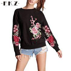 Фкз 2017 цветочный Вышивка Толстовки Толстовка Для женщин пуловер с длинными рукавами Осень Толстовки костюм Harajuku уличная 1129