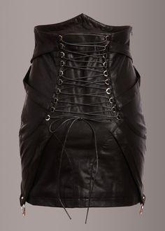 Born Free Studded Black Vegan Leather Skirt