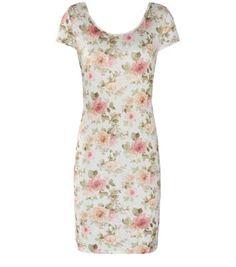 Cream Textured Cap Sleeve Floral Print Mini Dress