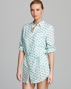 Tory Burch Sanibel Flamingo Print Belted Tunic Swimsuit Cover Up | Bloomingdale's