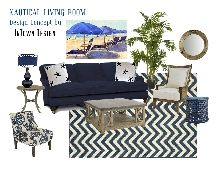 A nautical inspired living room done in a classic navy blue and white palette. Design by InTown Design of Naples, Florida Home Living Room, Living Room Designs, Outdoor Sofa, Outdoor Furniture Sets, Florida Living, Mood Boards, Interior Inspiration, Blue And White, Navy Blue