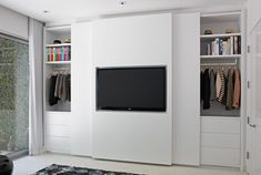 Concepts in wardrobe design. Storage ideas, hardware for wardrobes, sliding wardrobe doors, modern wardrobes, traditional armoires and walk-in wardrobes. Closet design and dressing room ideas. Bedroom Closet Doors, Sliding Wardrobe Doors, Bedroom Closet Design, Bedroom Cupboards, Tv In Bedroom, Bedroom Wardrobe, Wardrobe Closet, Trendy Bedroom, Sliding Doors