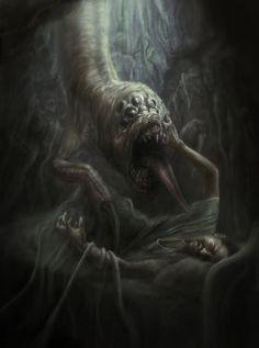 Beware Of The Boogeyman - Gallery Cthulhu, Arte Horror, Horror Art, Creature Feature, Creature Design, Eldritch Horror, Lovecraftian Horror, Beast Creature, Creepy Art