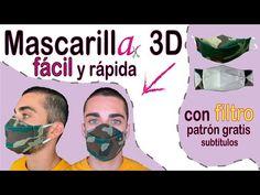 Mascarilla 3D, con filtro. MUY FÁCIL. (con subtítulos). Patrón gratis. - YouTube Diy Mask, Diy Face Mask, Sewing Hacks, Sewing Crafts, Mascara 3d, Camouflage, 3d Tutorial, Tapas, Material Girls
