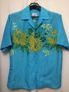fecdd088 Details about VTG Royal Palm XXL 2X Ohi'a Lehua Hawaiian Aloha Tropical  Blue Shirt