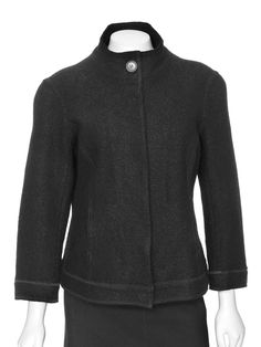 Lafayette 148 New York Black Fitted Boiled Wool Jacket
