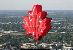 A Canadian maple leaf shaped hot air balloon! Air Ballon, Hot Air Balloon, Balloon Glow, Expo 67 Montreal, Air Balloon Festival, Big Balloons, Balloon Rides, Canada Day, Bali