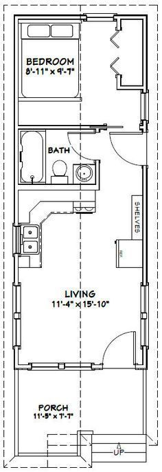 Cabin Floor Plans cabin house plan 74300 12x32 Tiny House 12x32h1 384 Sq Ft Excellent Floor Plans