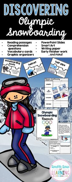 Get ready for the 2018 Winter Olympics, and teach your students all about Olympic Snowboarding! Includes student reading comprehension workbook, Power Point presentation, vocabulary cards, graphic organizers, crossword puzzles, and more!
