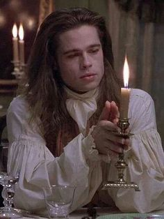 """""""Interview With The Vampire"""" by Anne Rice featuring Brad Pitt as Louis. Brad Pitt Vampire, Vampire Love, Hot Vampires, Vampires And Werewolves, Anne Rice Vampire Chronicles, Lestat And Louis, Victorian Vampire, Interview With The Vampire, Gothic Aesthetic"""