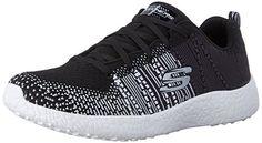 Skechers Sport Women's Burst Ellipse Fashion Sneaker, Black/White, 10 M US >>> Check out @
