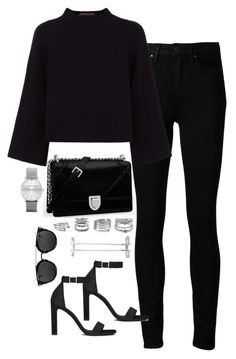 """""""Sin título #5392"""" by marianaxmadriz ❤ liked on Polyvore featuring Paige Denim, Jaeger, Forever 21, Maria Black and Yves Saint Laurent"""