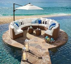 Pottery Barn honey wicker sectional on rounded platform next to ocean Wonderful Wicker Pieces for Upgraded Outdoor Entertaining Outdoor Umbrella, Outdoor Lounge, Outdoor Spaces, Outdoor Living, Outdoor Decor, Outside Furniture, Outdoor Wicker Furniture, Pool Furniture, Patio Design