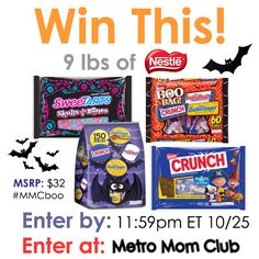 Enter to #win 9 lbs of @nestle Halloween Candy from @metromomclub #MMCboo #giveaway