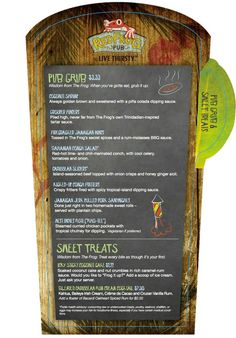 Carnival Red Frog Pub Menu