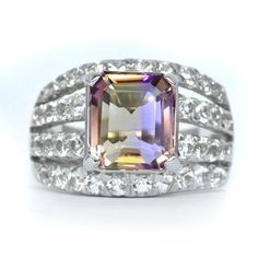4.60 Carat Natural Yellow & Purple Ametrine Ring With Topaz in 925 Silver #Multajewelry #SolitairewithAccents