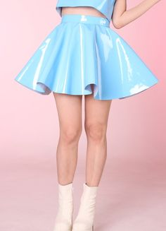 Image of Made To Order - Blue PVC Skater Skirt